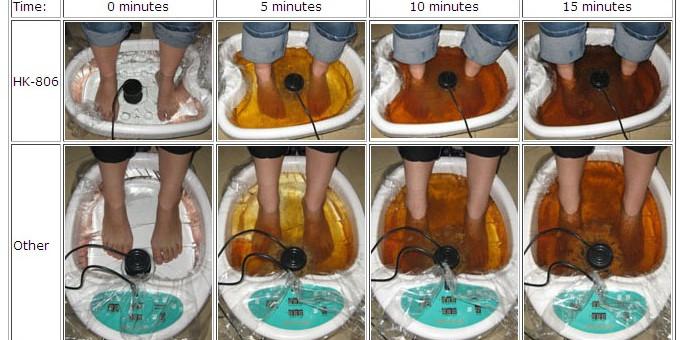 Terapia ionică pentru detoxifiere folosind baia salină la picioare